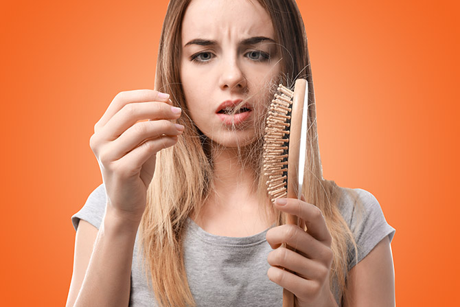 stop female hair loss girl brush